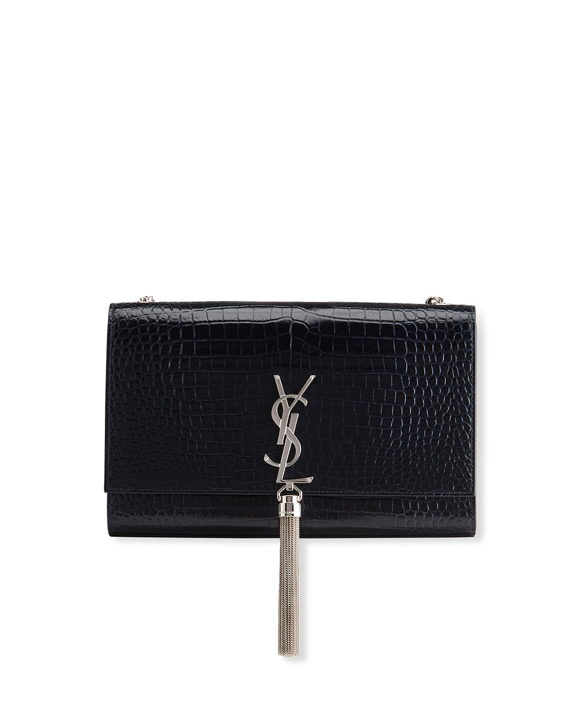 9ce26b9fa3a Saint LaurentKate Monogram YSL Medium Crocodile-Embossed Tassel Shoulder Bag