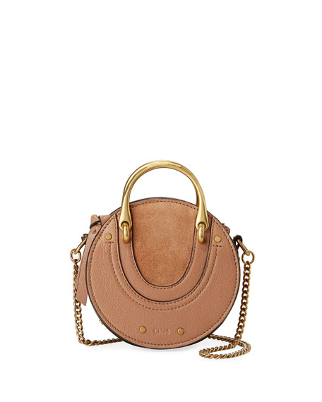 Image 1 of 5: Pixie Mini Leather/Suede Crossbody Bag