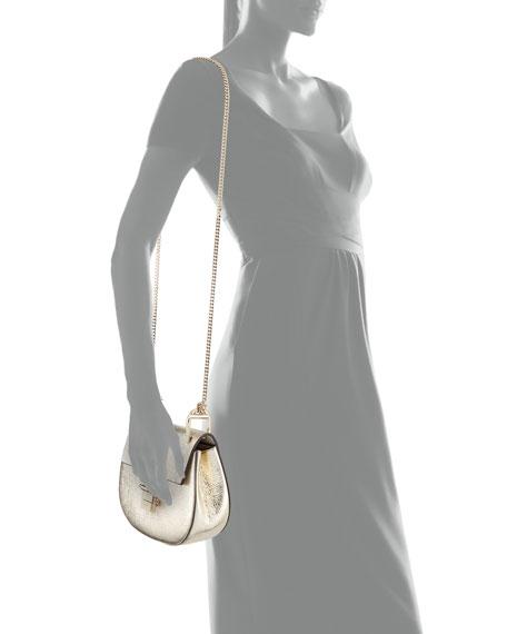 Drew Mini Metallic Leather Crossbody Bag