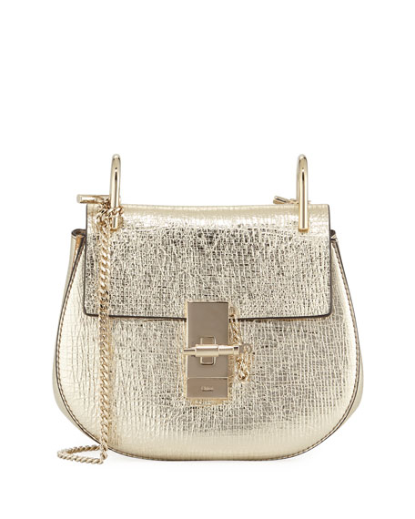 Chloe Drew Mini Metallic Leather Crossbody Bag