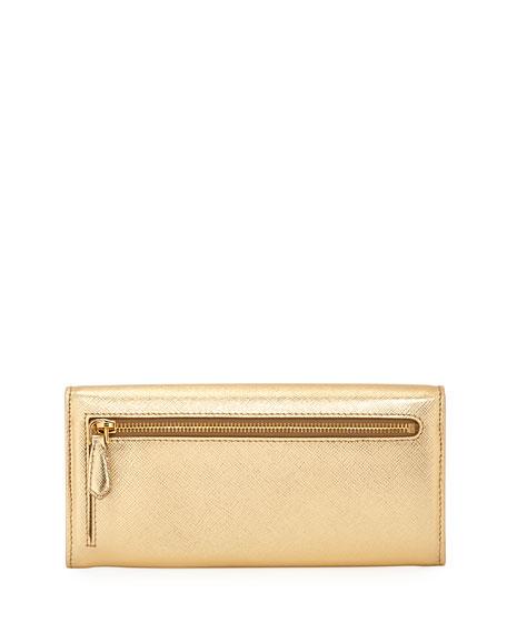 2035f6a60fe8dd Prada Saffiano Metal Oro Continental Wallet | Neiman Marcus