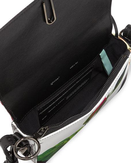 Off-White Floral Pattern Mini Flap Crossbody Bag