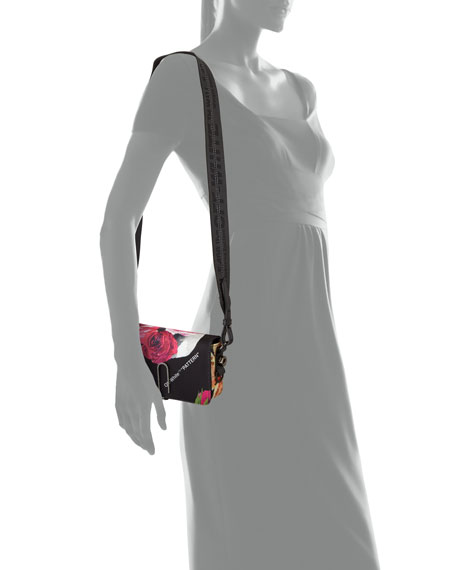 Floral Pattern Mini Flap Crossbody Bag