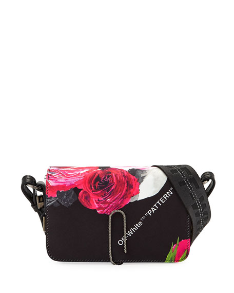 Off-White Floral Pattern Mini Flap Crossbody Bag