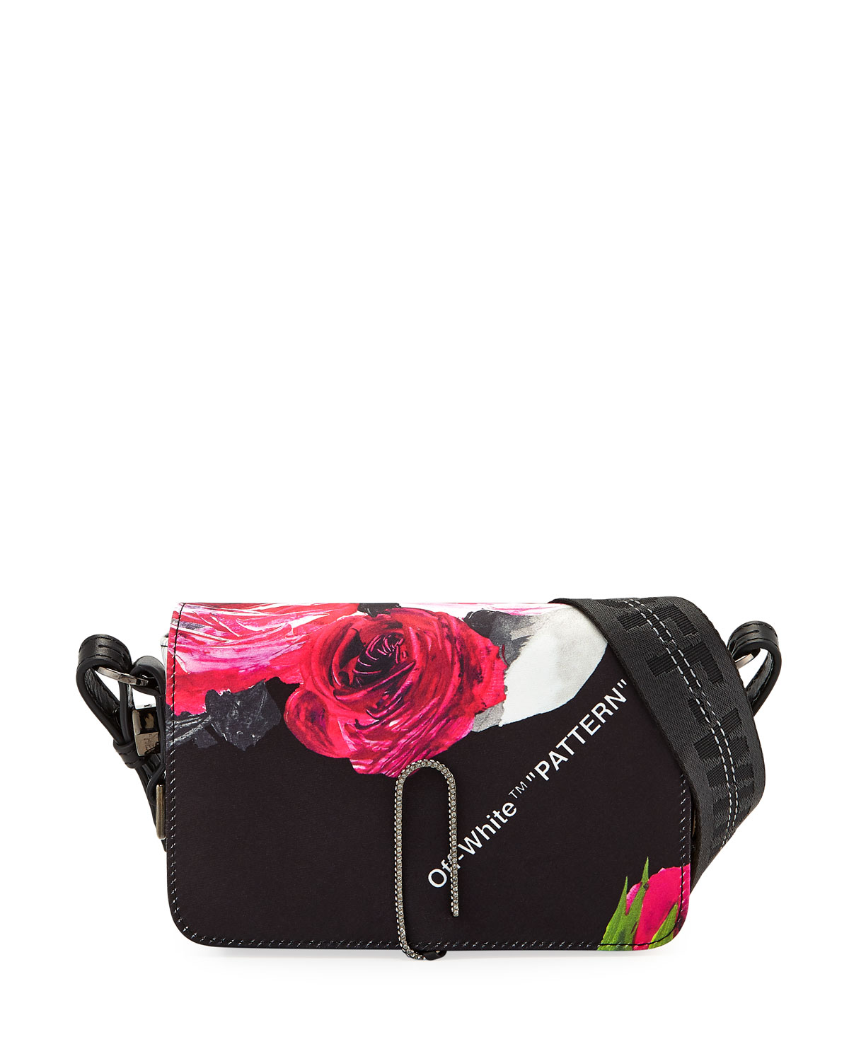 d9350d6d3e26 Off-White Floral Pattern Mini Flap Crossbody Bag