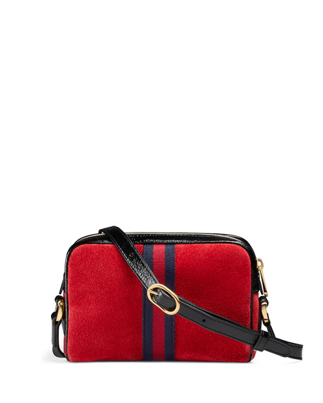 Ophidia Small Suede Crossbody Camera Bag