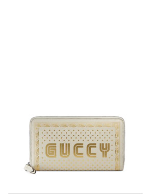 507417bb7d96 Gucci Guccy Script Zip-Around Wallet