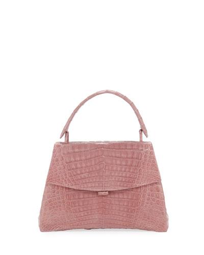 Curved-Bottom Small Crocodile Top-Handle Bag