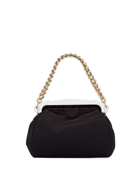 Image 1 of 2: Aliza Framed Satin Chain-Handle Clutch Bag
