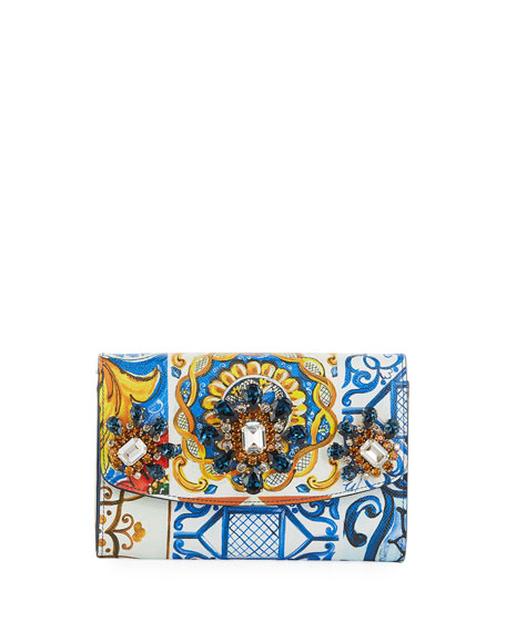 Dolce & Gabbana Jeweled Printed Leather Wallet On
