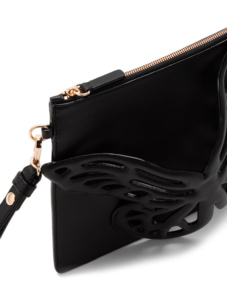 Sophia Webster Flossy Butterfly Leather Pochette Clutch Bag