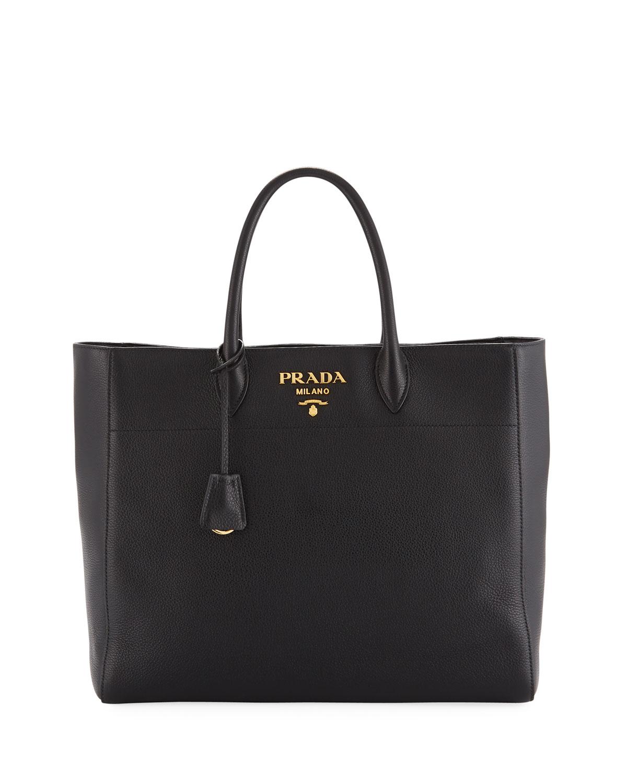 8ed27138b169 Prada Large Daino Leather Tote Bag | Neiman Marcus