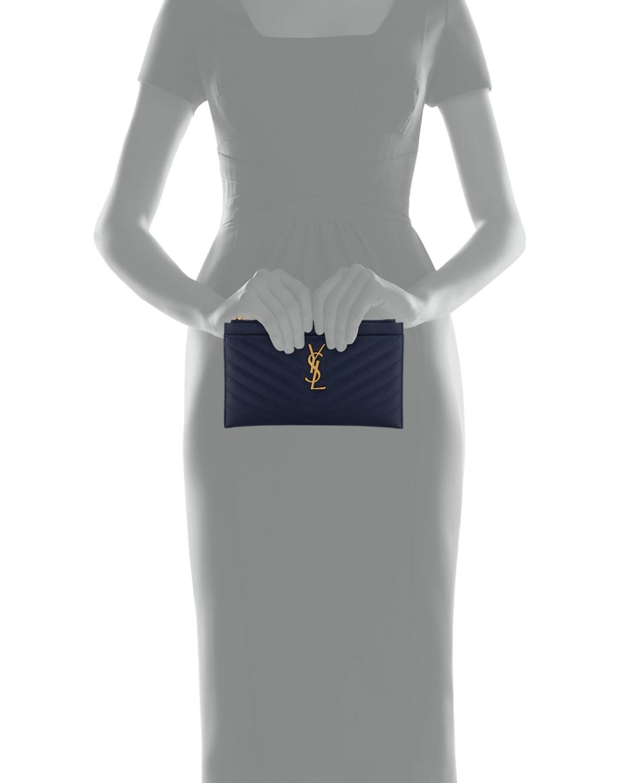 e79ea11fd43 Saint Laurent Monogram YSL Matte Quilted Bill Pouch Wallet | Neiman Marcus