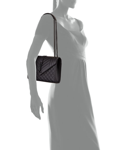 Saint Laurent V Flap Monogram YSL Medium Tri-Quilt Envelope Shoulder Bag w/ Tonal Hardware
