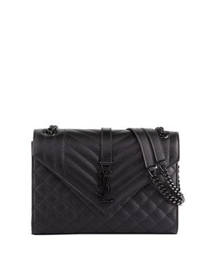 9218d3dc6434 Saint Laurent V Flap Monogram YSL Medium Tri-Quilt Envelope Shoulder Bag w   Tonal