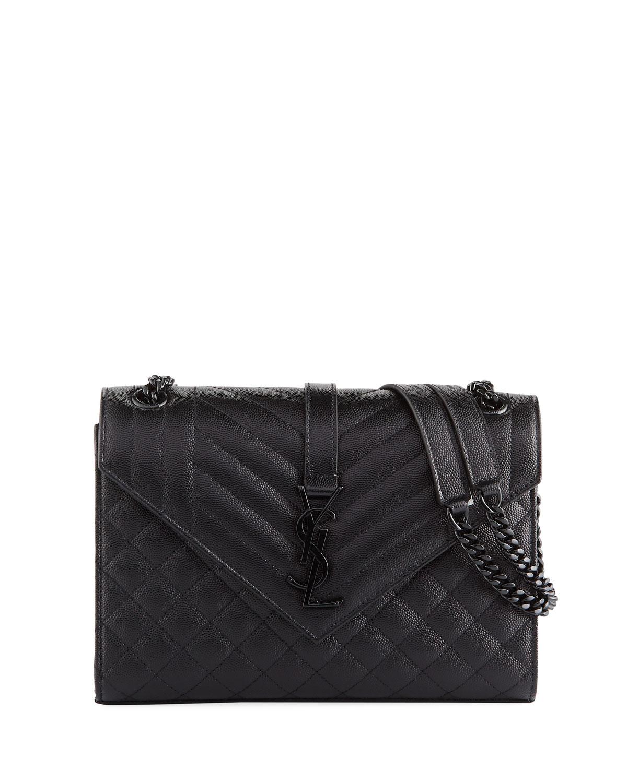 f9d609c3a3 Saint Laurent V Flap Monogram YSL Medium Tri-Quilt Envelope Shoulder Bag w/  Tonal