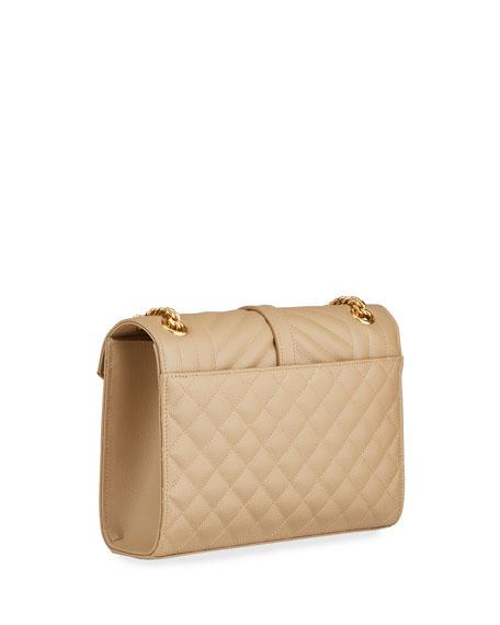 V Flap Monogram YSL Medium Envelope Chain Shoulder Bag - Golden Hardware