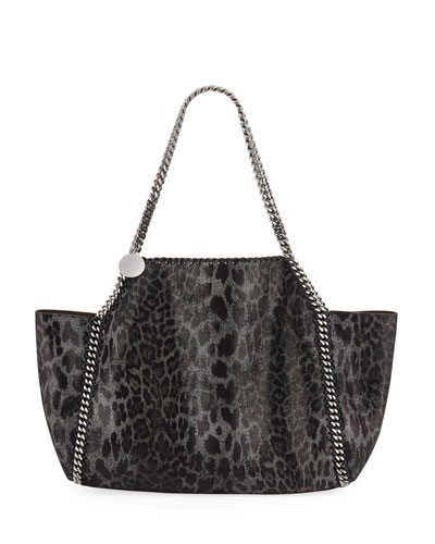 Falabella Small Metallic Leopard Reversible Tote Bag