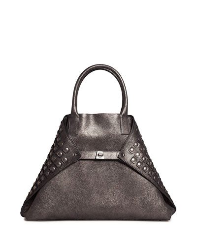 Ai Medium Grid-Studded Top-Handle Bag