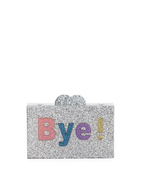 Girls' Hi/Bye Glittered Acrylic Box Clutch Bag