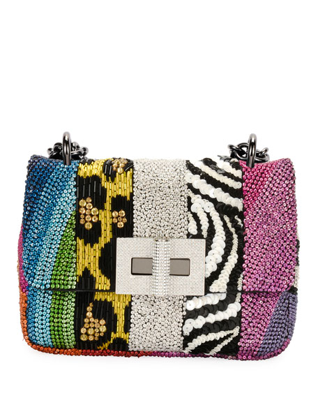Natalia Large Soft Patchwork Crystal Shoulder Bag