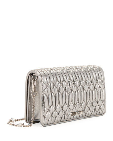 Image 3 of 4: Miu Miu Napa Leather Wallet on a Crossbody Chain with Crystal Clasp