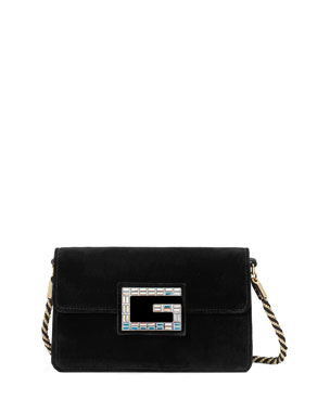 2323f43e2b74 Gucci Broadway Small Velvet Shoulder Bag with Square G