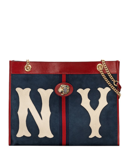 Gucci Rajah Large Suede Tote Bag with NY Yankees MLB Patch