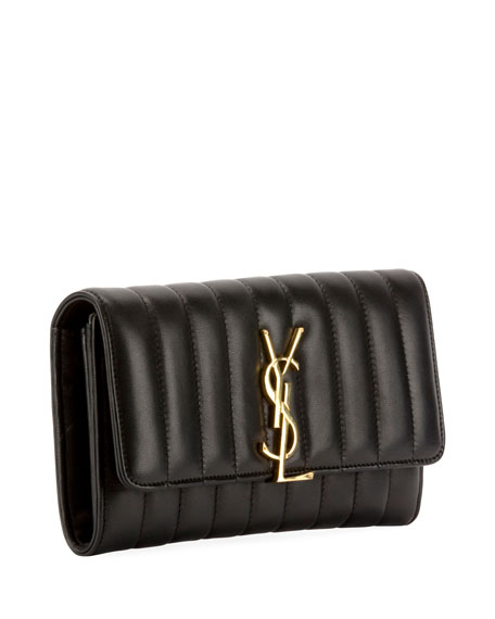 Saint Laurent Vicky Monogram YSL Quilted Leather Continental Organizer Wallet