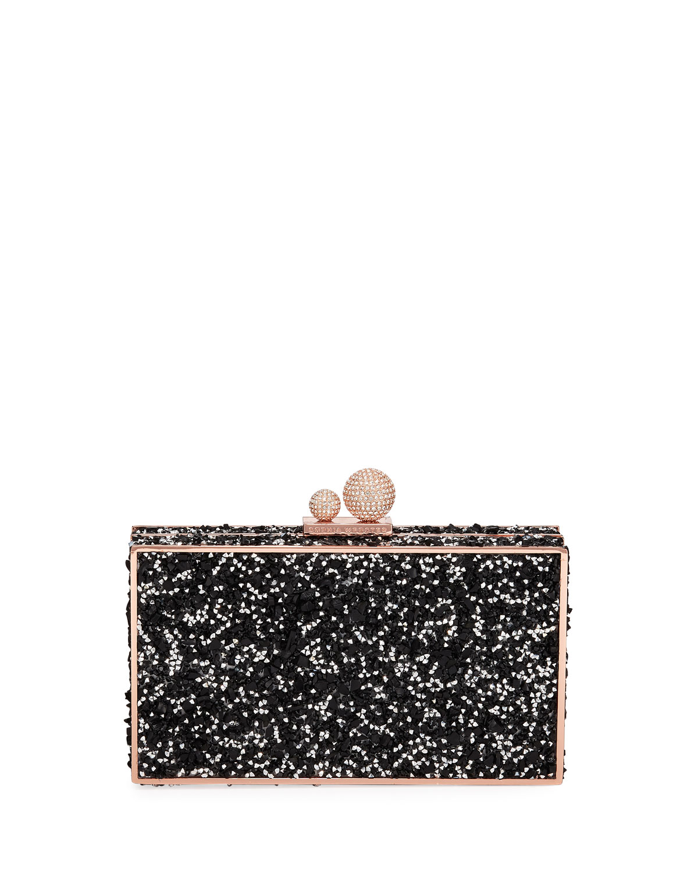 Sophia Webster Clara Crystal Box Clutch Bag Black