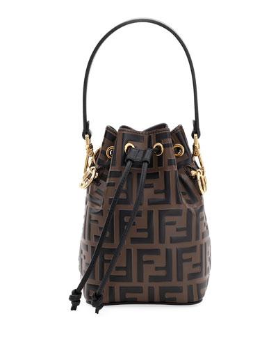 Mon Tresor FF-Embossed Leather Bucket Bag
