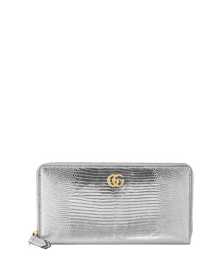 f6c1e03cb6aa0e Gucci Petite Marmont Laminated Lizard Zip-Around Wallet | Neiman Marcus