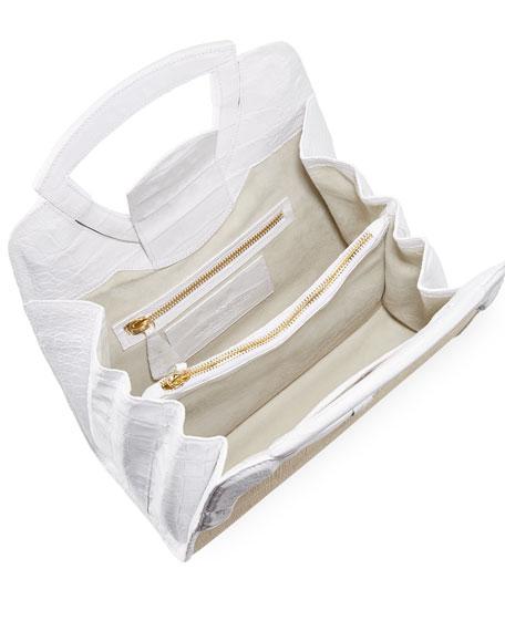 Nancy Gonzalez Small Keyhole Straw/Crocodile Top-Handle Bag