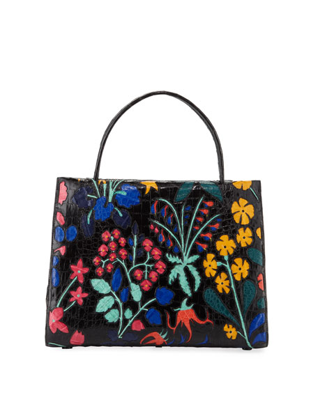 Nancy Gonzalez Wallis Large Floral Crocodile Tote Bag