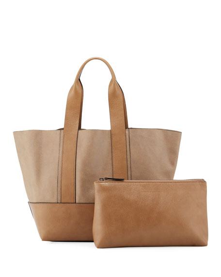 Brunello Cucinelli Two-Tone Leather Tote Bag