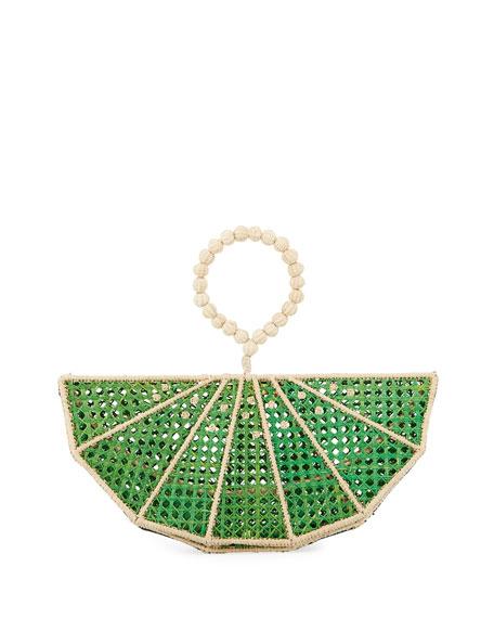 Mercedes Salazar Raffia Lime Wedge Clutch Bag