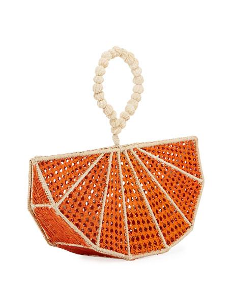 Mercedes Salazar Raffia Orange Wedge Clutch Bag