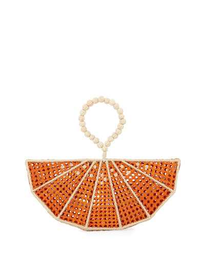 Raffia Orange Wedge Clutch Bag