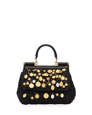 1a57a9d38d4af3 Dolce & Gabbana Sicily Small Embellished Raffia Shoulder Bag