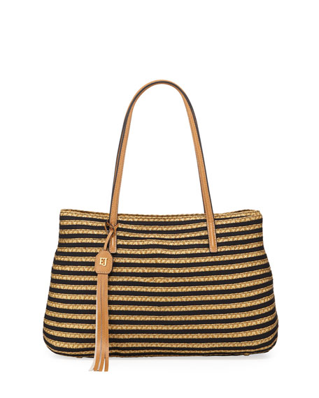 Eric Javits Dame Brooke Squishee Tote Bag, Black/Natural