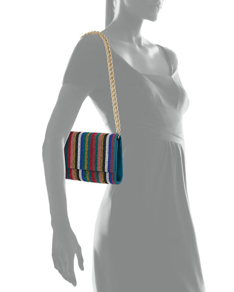 Image 5 of 5: Judith Leiber Couture Fizzoni Candy Stripe Crystal Clutch Bag