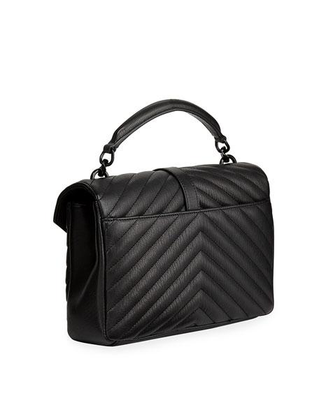 Saint Laurent College Medium Monogram YSL V-Flap Crossbody Bag - Black Hardware