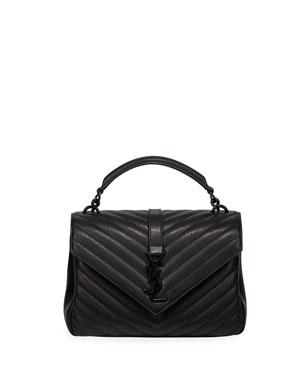9223037ea68 Saint Laurent College Medium Monogram YSL V-Flap Crossbody Bag - Black  Hardware