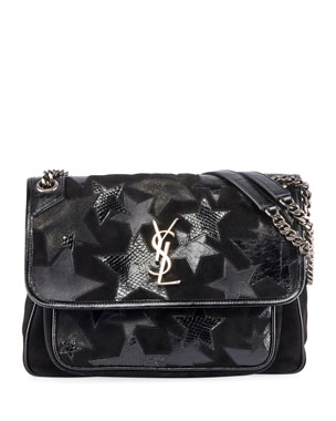 40be0d146a9f Saint Laurent Niki Medium YSL Monogram Stars Flap Shoulder Bag