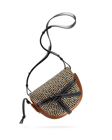 Loewe Gate Small Colorblock Raffia Shoulder Bag