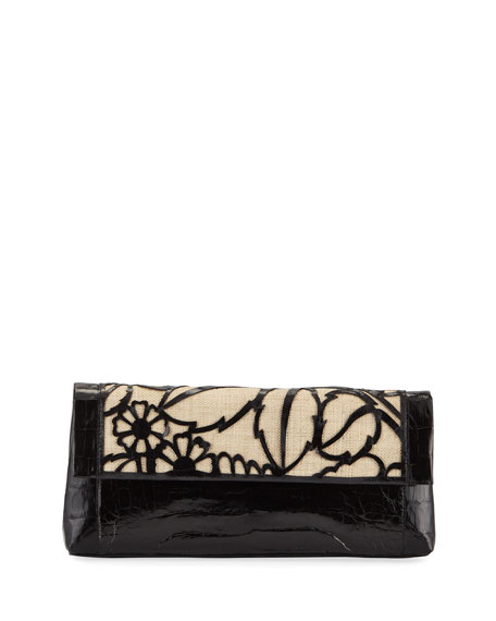 Nancy Gonzalez Floral Gotham Crocodile Clutch Bag