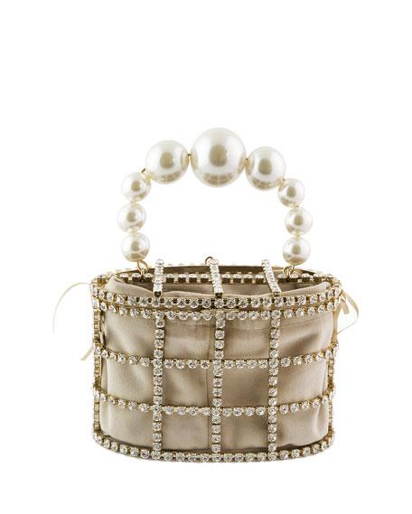 Rosantica Holli Pearl-Handle Caged Minaudiere Bag