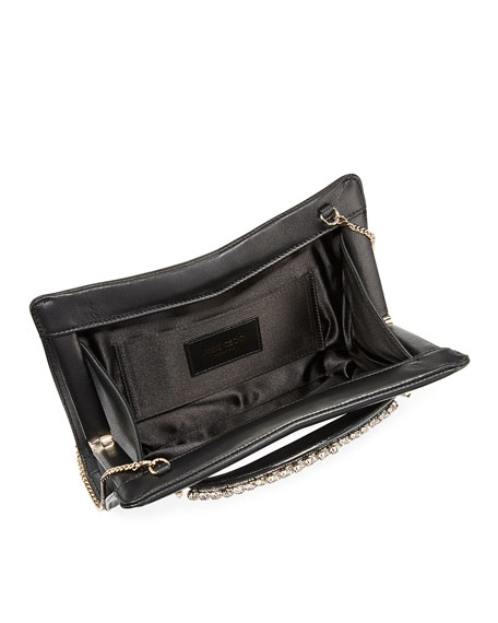 Jimmy Choo Venus Crystal-Handle Leather Clutch Bag