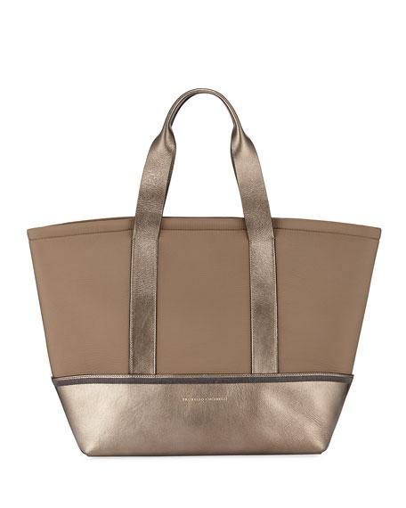 Brunello Cucinelli Neoprean Metallic Tote Bag
