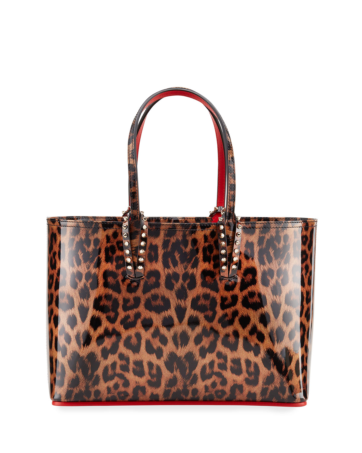 Cabata Small Leopard Print Patent Tote Bag by Christian Louboutin